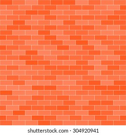 Vector red brick wall of red color in different shades