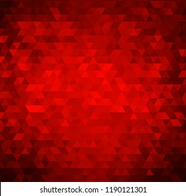 Vector red bright background with triangle shapes. Golden ornament