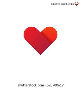 Vector red bright logo of flat heart. Valentine day
