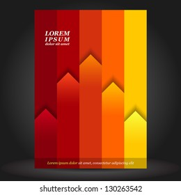 Vector red brochure template design with orange and yellow stripes. EPS 10
