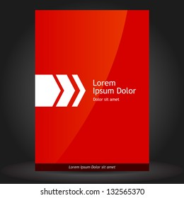 Vector red brochure template design with white arrow. EPS 10