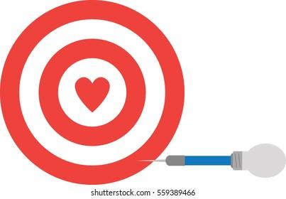 Heart bullseye images stock photos vectors shutterstock vector red bullseye with red heart and light bulb dart altavistaventures Image collections
