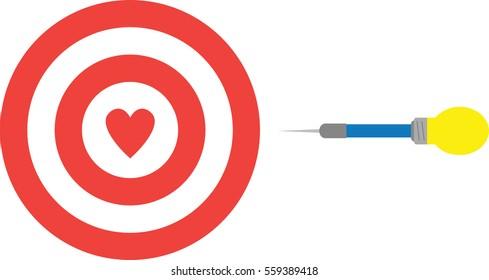 Heart bullseye images stock photos vectors 10 off shutterstock vector red bullseye target with heart and yellow blue light bulb dart thecheapjerseys Images