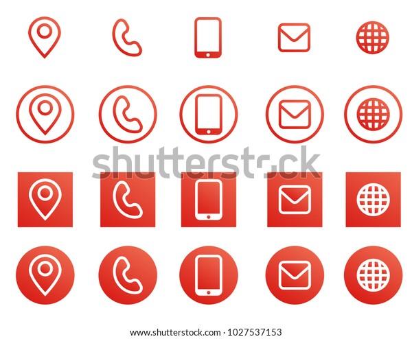 Vektorrote Visitenkarten Kontaktdaten Symbole Stock