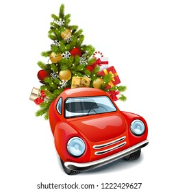Vector Red Car with Christmas Tree isolated on white background