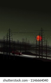 vector red car driving on the local road on dark forest  and big red moon. holloween background