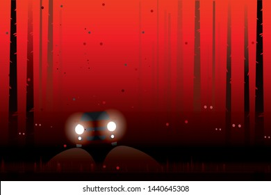 vector red car driving on the local road on dark red forest  . holloween background