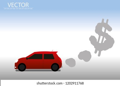 vector red car and pollution smoke.dollar money sign.pollution air.green house effect