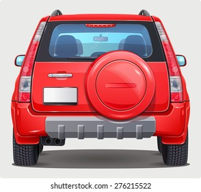 Vector red Car with Spare Tire on Trunk - Back view - Visible interior version