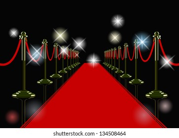vector red carpet at night with flashes