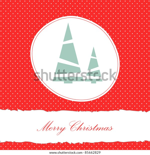Vector red christmas card with fir and place for text
