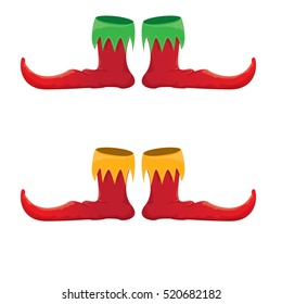 vector red christmas elf shoes collection icon isolated on white. vector funky red cartoon boots set
