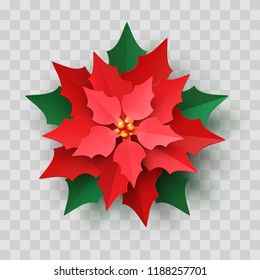 Vector Red Christmas Poinsettia Flower in paper cut style isolated on transparent background. New year paper craft symbol, Christmas star flower