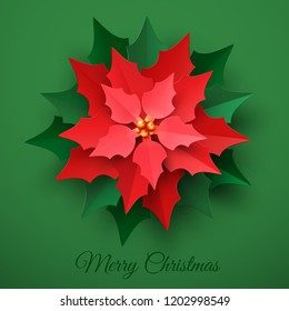 Vector Red Christmas Poinsettia Flower in paper cut style on green background. Happy New year and merry Christmas greeting card design template