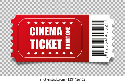 Vector red cinema ticket isolated on transparent background.
