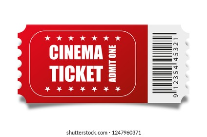 Vector red cinema ticket isolated on white background.