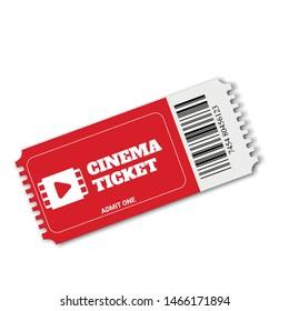 Vector red cinema ticket.  Realistic cinema entrance ticket.