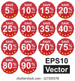 Vector : Red Circle Sale Price Tag For Special Promotion Campaign, Save 5-90% Off Isolated on White Background