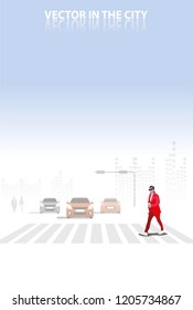 vector red cloth man walking on the street on city background.city concept