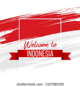 Vector red color design Illustration of Indonesia flag. Welcome to Indonesia concept. Graphic design set of banners with modern abstractions on the background