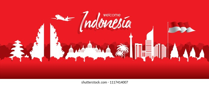 Vector red color design, Illustration of Indonesia Icons and landmarks.