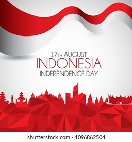 Vector red color Flat design, Illustration of flag. 17th August Indonesia Independence Day concept.