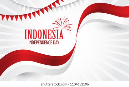 Vector red color Flat design, Illustration of flag for banner. Indonesia Independence Day concept.