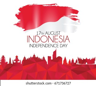 Vector red color Flat design, Illustration of Indonesia Icons, flag, and landmarks. 17th August Indonesia Independence Day concept.