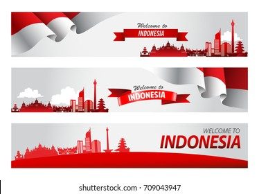 Vector red color Flat design, Illustration of flag for banner. Welcome to Indonesia concept.