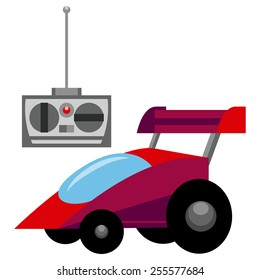 Vector Red Control Remote Car Toy Isolated