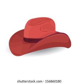 vector red cowboy hat isolated on white background