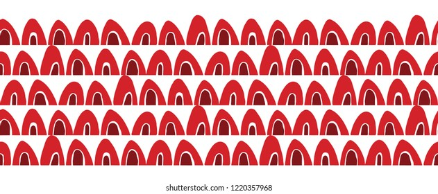 Vector red and depp red abstract geometric seamless border on white background. Ideal for fabric, textiles, print on demand, stationery. Use on Holidays like Christmas and Valentine's day.