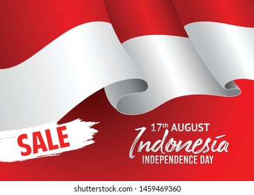 Vector red design, Illustration of Indonesia Icons, flag, and Sale for 17th August Indonesia Independence Day.