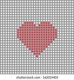 Vector red dotted heart on white background
