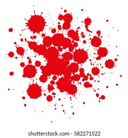Vector red drops of paint and stains, ink blots