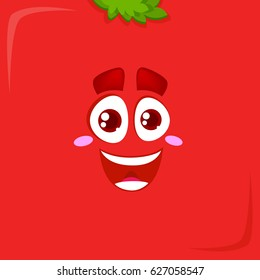 Vector red face. Tomato or apple face.