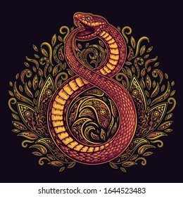 Vector Red Fire Ouroboros Snake Illustration