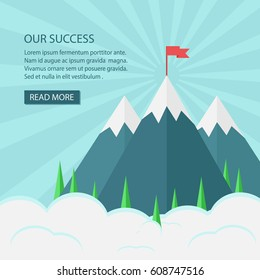 vector red  flag stand on top of mountain with cloud and sunrise effect.there is space for put your text.
