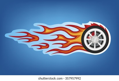 Vector red flames tuning car style on blue