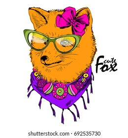Vector red fox with glasses and bow. Hand drawn illustration of dressed fox.