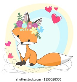 Vector red fox hand drawn cartoon  illustration. It can be used for baby t-shirt design, fashion print, cards, design element for children's clothes. Cute animal character