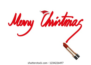 vector red freehand text merry christmas and red lipstick on white background