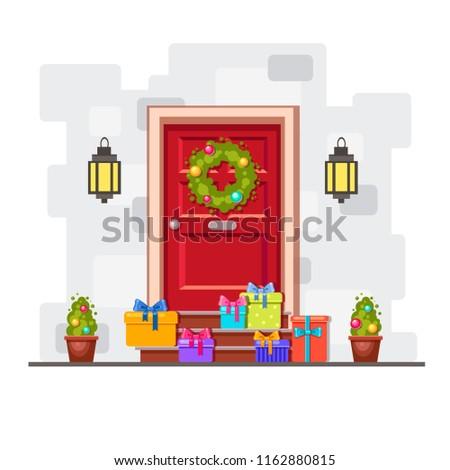 Vector Red Front Door Lots Different Stock Vector Royalty Free