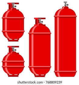 Vector Red Gas Tank Icon Set Isolated on White Background