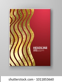 Vector Red and Gold Design Templates for Brochures, Flyers, Mobile Technologies, Applications, Online Services, Typographic Emblems, Logo, Banners and Infographic. Golden Abstract Modern Background.
