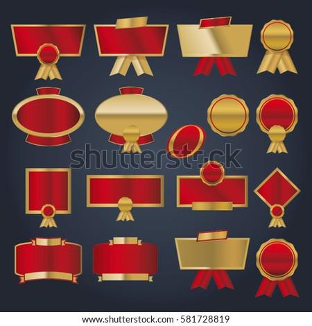 Vector Red Gold Logo Badges Frames Stock Vector Royalty Free