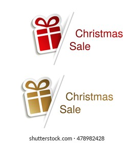 Vector red and golden Christmas gift with label for advertising text on the white background, stickers with shadow
