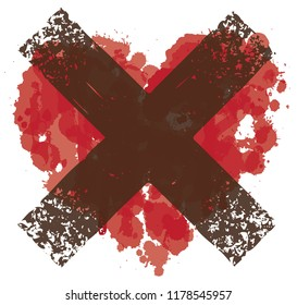 Vector red graphic abstract illustration of crossed-out heart sign with ink blots, brush strokes, drops. Bloody heart and dark cross. T-shirt design template