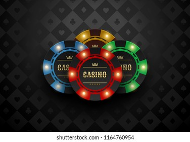 Vector red green blue yellow casino poker chip with luminous light elements. Black silk card suits background. Blackjack or online casino web banner, logo or poster