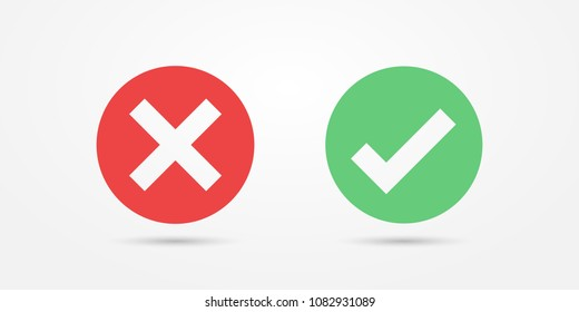 Vector red and green circle icon check mark icon isolated on transparent background. Approve and cancel symbol for design project. Flat button yes and no. Good and bad